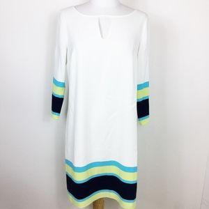Ann Taylor White Shift Dress with Stripes sz. 4